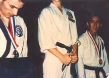 Winning a medal in St. Louis, Spring, 1986
