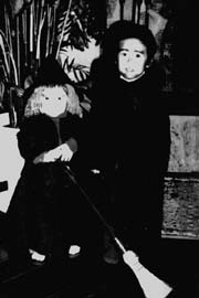 Anton as dracula and Erica as a witch on Halloween, 1974