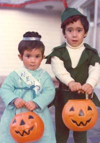 Anton as Peter Pan and Erica as Wendy on Halloween, 1975
