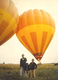 Anton with Jim and Erica, preparing to balloon in Kenya, 1980