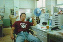 Anton kicks back in his office, 1994