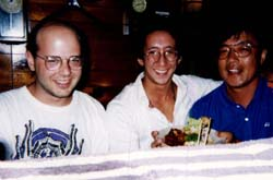 Anton with Stu and friend in Tokyo, Summer 1993