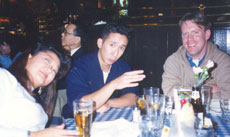 Anton with Eunhee and Adrian at the Hard Rock Cafe in Osaka