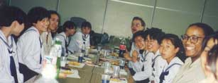 Anton with students in Japan