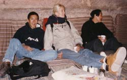 Some Bedhouin Tea with Claire and Yoyo in Petra, Jordan, March 1997