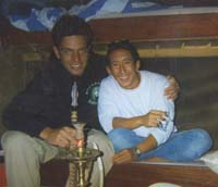 Anton and a friend take time out for sheesha