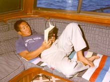 Catching up on some reading below deck